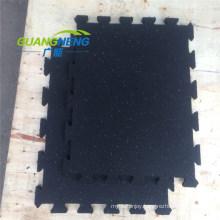 3-12 mm Thick Black Color SBR Interlocking Rubber Tiles, Size 1mx1m