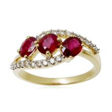 18k Gold Over 925 Silver Rings Jewelry com Ruby CZ