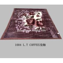 5KG L.T. Coffee Polyester Flower Printed Raschel Mink Blankets