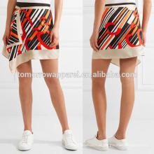 Nova Moda Drapeado Impresso Silk-cetim Verão Mini Saia Diária DEM / DOM Fabricação Atacado Moda Feminina Vestuário (TA5007S)