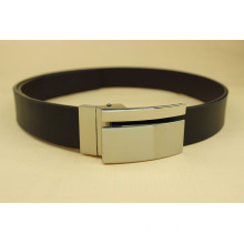 Mens Sleek Black Patent Faux Leather Square Plate Buckle Belt