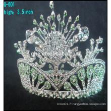 Vente en gros rhinestone grand concours concours de beauté reine couronnes