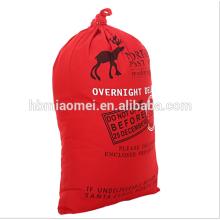 Neue Mode Rot Farbe Weihnachten Kordelzug Dekorative Tasche Baumwolle Leinwand Weihnachtsbaum Tasche
