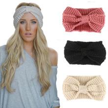 Las mujeres del invierno Señora Ear Warmer Crochet Bowknot Turbante de punto Headband Hairband Headband Headwear Hair Band accesorios