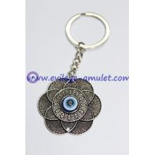 Alloy Silver Plated Flowers Blue Evil Eye Keychain