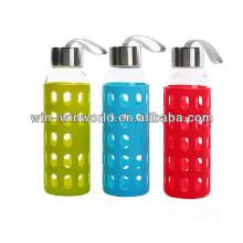 Presente relativo à promoção resistente ao calor Grande vidro de garrafa colorido portátil portátil especial reusável da luva do silicone
