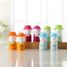 salt and pepper with silicone hat, 4 color assorted