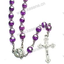 8mm Lila runde Glasperlen katholische Rosenkranz Halskette, Rosenkranz Perlen