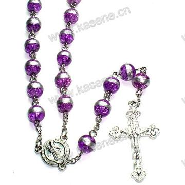 8mm Purple Round Beads Colar de Rosário Católica, Rosário Beads