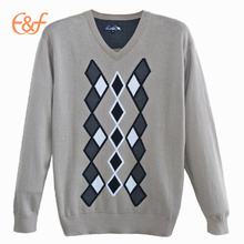 Fashion Custom Male Pullover Argyle Sweater