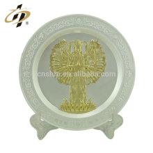 Placa de metal de placa de recuerdo de placa de oro y plata personalizado con titular