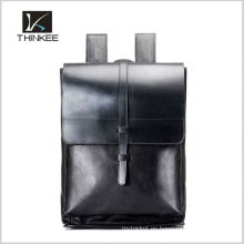 Elegancia vintage geuine leather school mochila