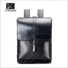 Sacos de escola de couro geuine vintage elegância mochila