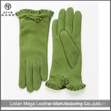 women fancy gloves and dark green color suede leather gloves