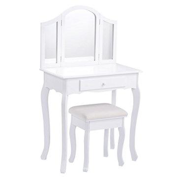 Bathroom Vanity Makeup Table Set Tri-folding Mirror Cushioned Stool Dressing Table