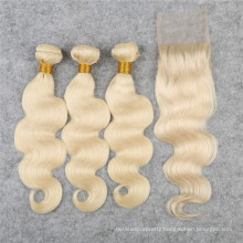 #613 blonde and closures Brazilian body wave human hair extension