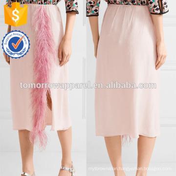 New Fashion Feather Trimmed Silk-georgette Midi Pencil Skirt DEM/DOM Manufacture Wholesale Fashion Women Apparel (TA5139S)