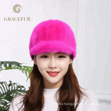 Factory direct sale warmest pink ladies mink real fur hats