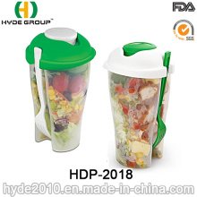 Plastic Salad to-Go Cup with Fork and Dressing Cup (HDP-2018)