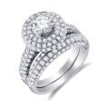 925 Silver Prong Set Runde Diamant Verlobungsring und Hochzeit Band Set
