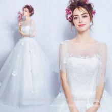 La calidad atractiva ve a través de 2017 Vestidos de Novia Vestidos de novia de tamaño Puffy vestidos de encaje vestido de novia de vestido de bola MW2200