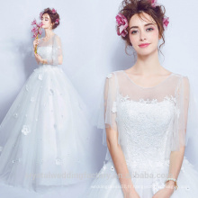 Sexy Quality See Through 2017 Vestidos de Novia Plus Size Puffy Robes de mariée Lace Ball Gown Robe de mariée MW2200