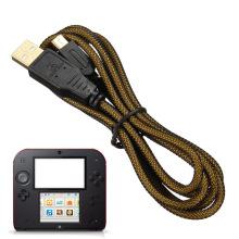 Schwarz Vergoldung Port USB Ladekabel für Nintendo DSi DSiXL DSiLL 3DS 3DSXL 3DSLL Ladegerät Datenleitung