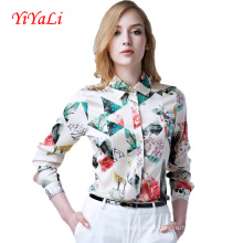Verão nova moda feminina chiffon impressão camisa / blusa