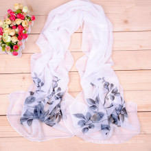 Fashion new arrival plain weave printed silk scarves ladies chiffon scarf