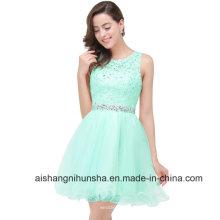 Curto Vestidos Homecoming Tulle frisado -Neck vestido de baile vestidos de baile