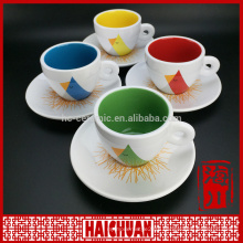 Color glaze tea ceramic cup &saucer