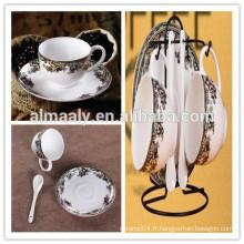 Ensemble de tasse et soucoupe de café de porcelaine de mode Ensemble de tasse de cadeau et soucoupe de tasse de cadeau