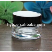 Crème en gros verre vide pot avec couvercle
