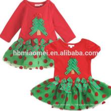 2017 маленьких девочек малыша довольно зимний праздничный наряд красный белый в полоску 2шт туника Леггинсы комплект Рождественский костюм