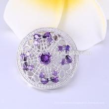 Venta caliente cristal violeta plateado broches para mujeres, flor en forma de broches de boda fabricante