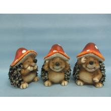 Mushroom Hedgehog forma de artesanato de cerâmica (LOE2550-C11)