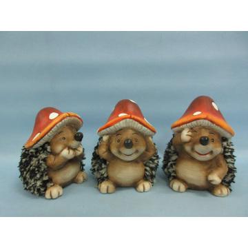Mushroom Hedgehog Shape Ceramic Crafts (LOE2550-C11)