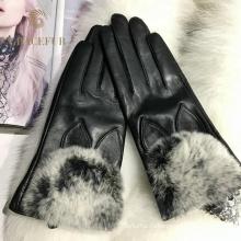 Лучшие продажи реальные меховые перчатки женщин зима теплые перчатки оптом