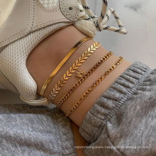 Creative Metal Claw Chain 4 Simple Combination of Diamond Inlaid Letter K Anklet