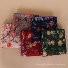 2018 fabricant fournir vintage impression florale voile lady châle foulard écharpes