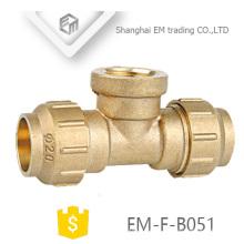 EM-F-B051 3 Way Latão Tee Espanha Diâmetro Rosca Fêmea e encaixe Da Tubulação De Compressão
