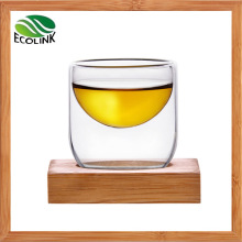 Creative Double Wall Glass Cup with Bamboo Coaster