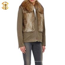 2015 Neuer Art-Mantel mit Pelz-Waschbär-Kragen und Kaninchen-Pelz-Weste-Pelz-Überzieher