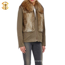 2015 New Style Coat With Fur Raccoon Collar and Rabbit Fur Vest Fur Overcoat