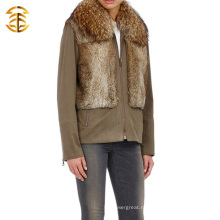 Пальто нового стиля 2015 с меховым воротником из енота и меховым пальто из шерсти кролика
