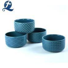 Tazón de ensalada de cerámica de la nueva impresión de encargo del precio al por mayor de la moda con la tapa