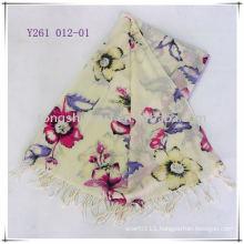 Flower print wool pashmina scarf