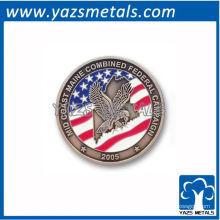 personnaliser des pièces de monnaie commémoratives, une pièce de drapeau personnalisée avec un nickelage antique