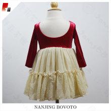 flicka boutique ärm ruffle gyllene spets klänning