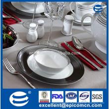 Atacado housewares mordern vivendo luxo preto borda decalque jogo de cerâmica de jantar, 6 / 9inch tigela